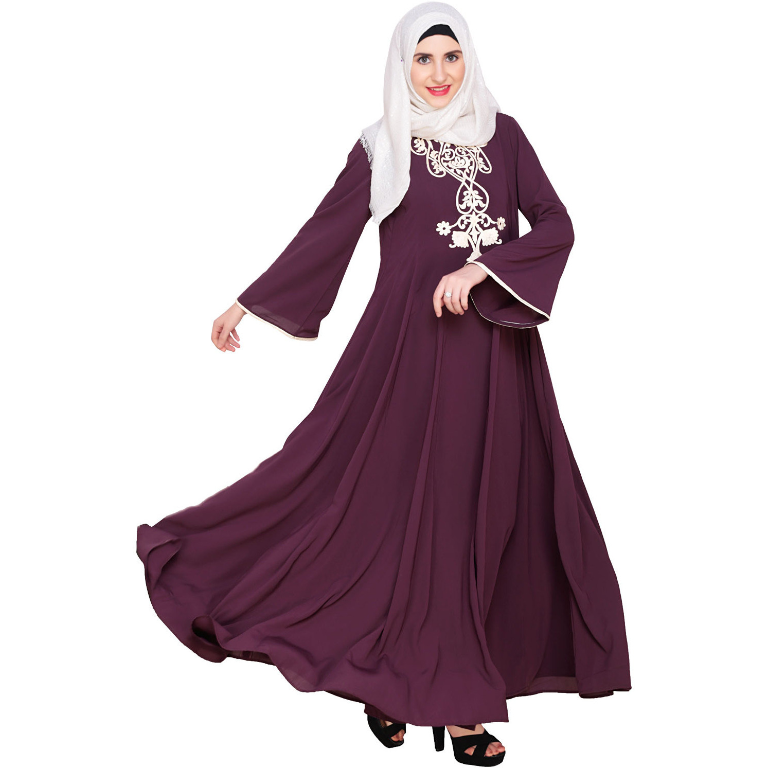 0610de28d418 Modest Purple Formal Dresses