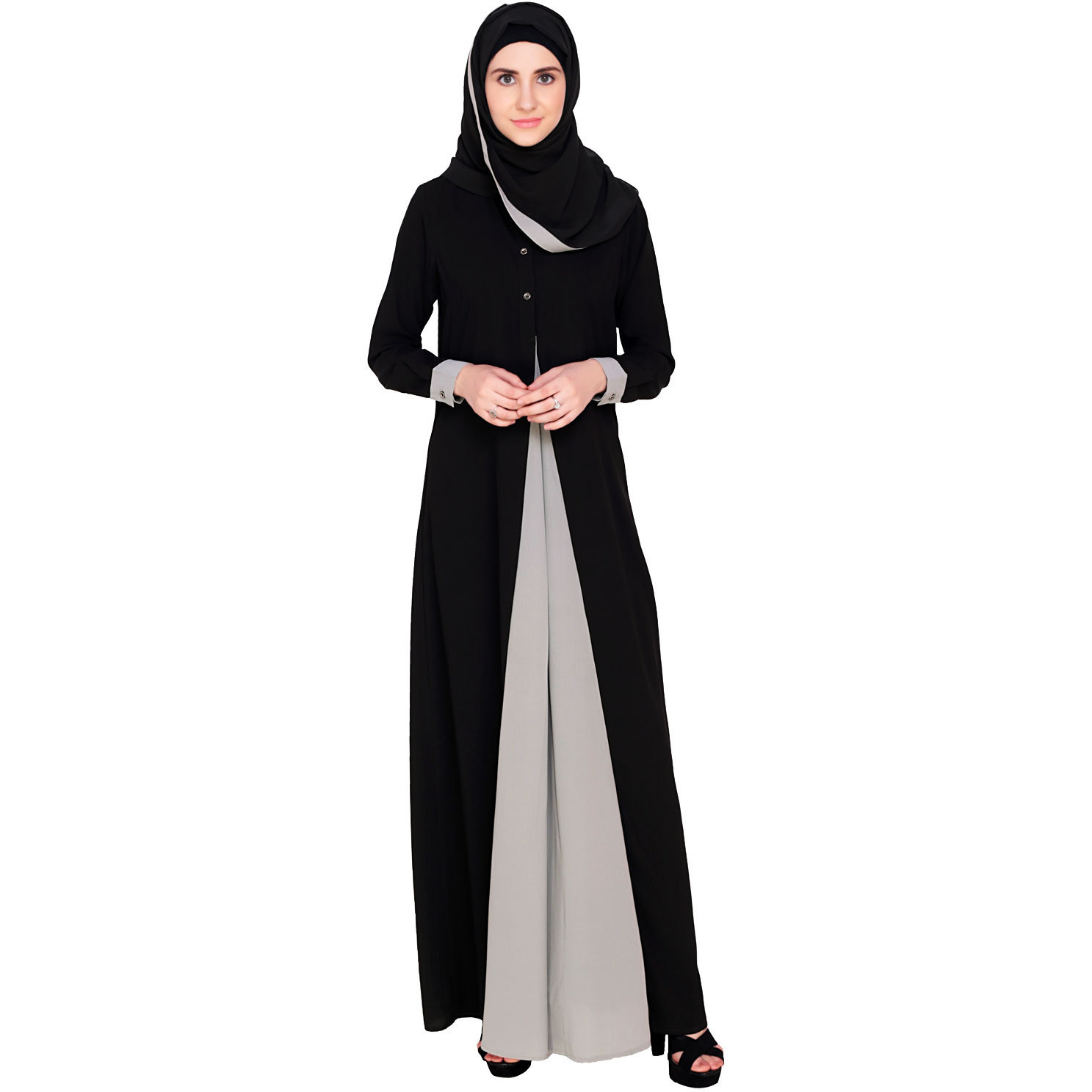 Modest Forever Pretty Grey Layerd Abaya (Size:M)
