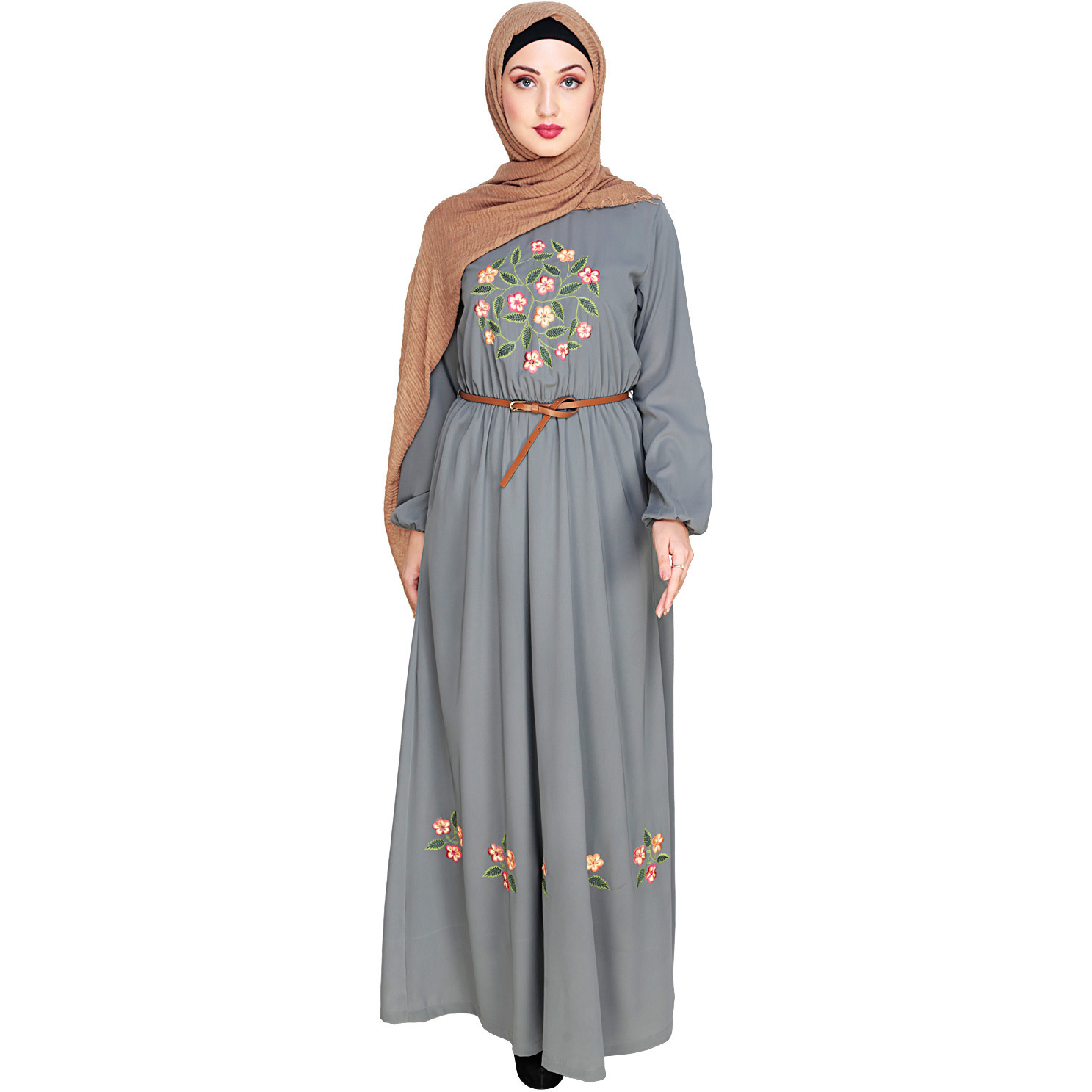 Modest Forever Plush Embroidered Grey Maxi Dress Abaya (Size: L)