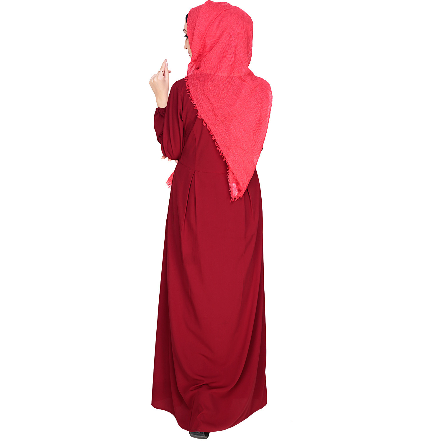 Modest Forever Box Pleated Wine Abaya (Size: M)