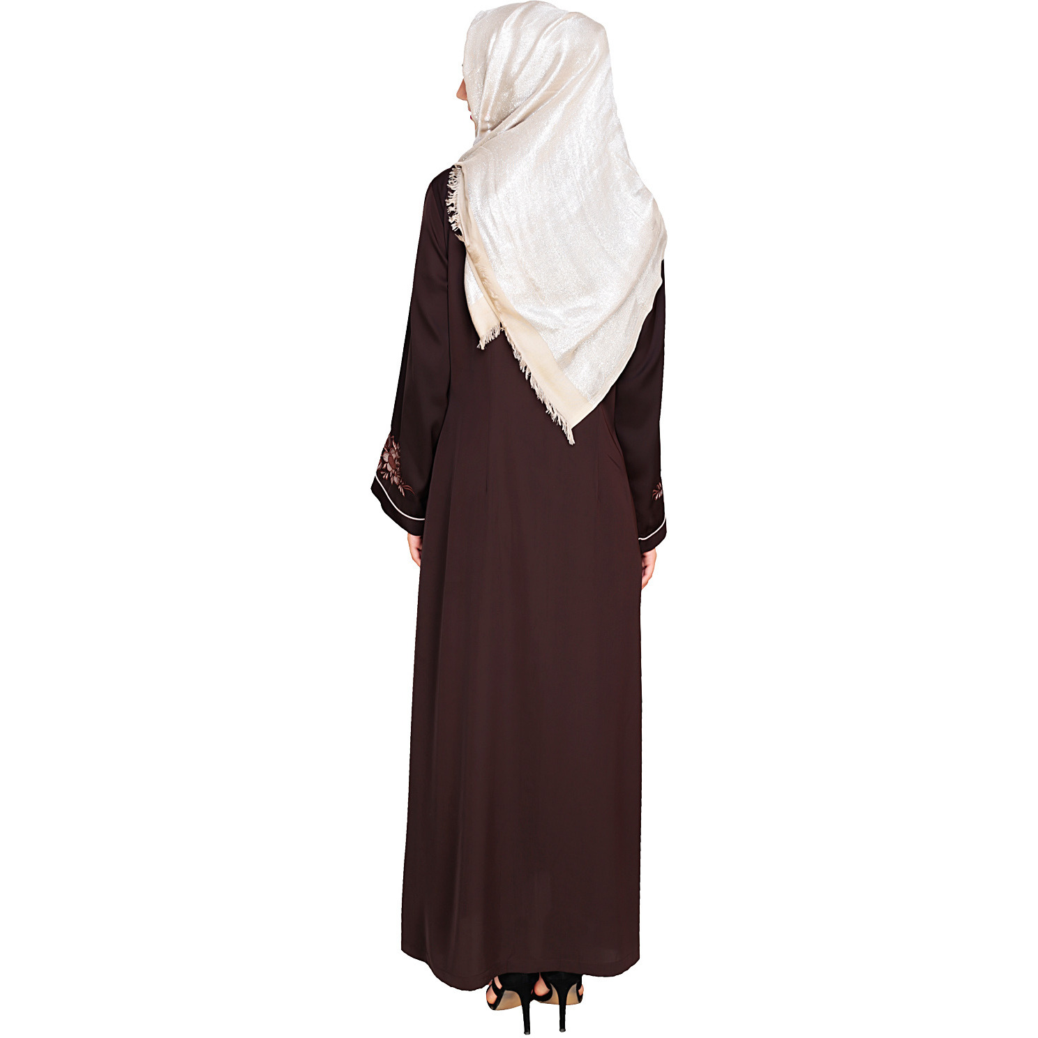 Modest Forever Appealing Dark Brown Floral Embroidery Dubai Style Abaya (Size:L)
