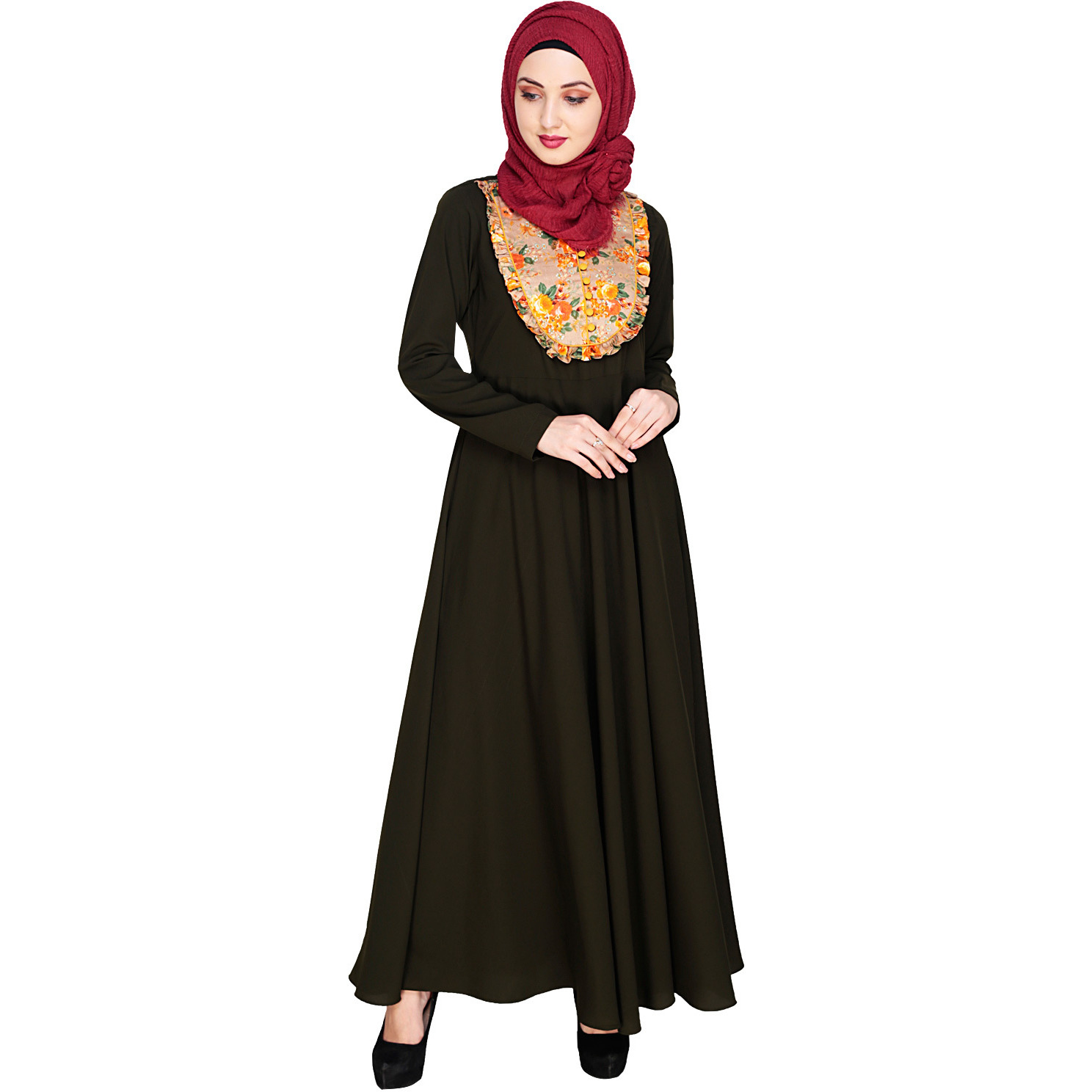 Modest Forever  Fanciful Ruche Olive Maxi Dress Abaya (Size: S)