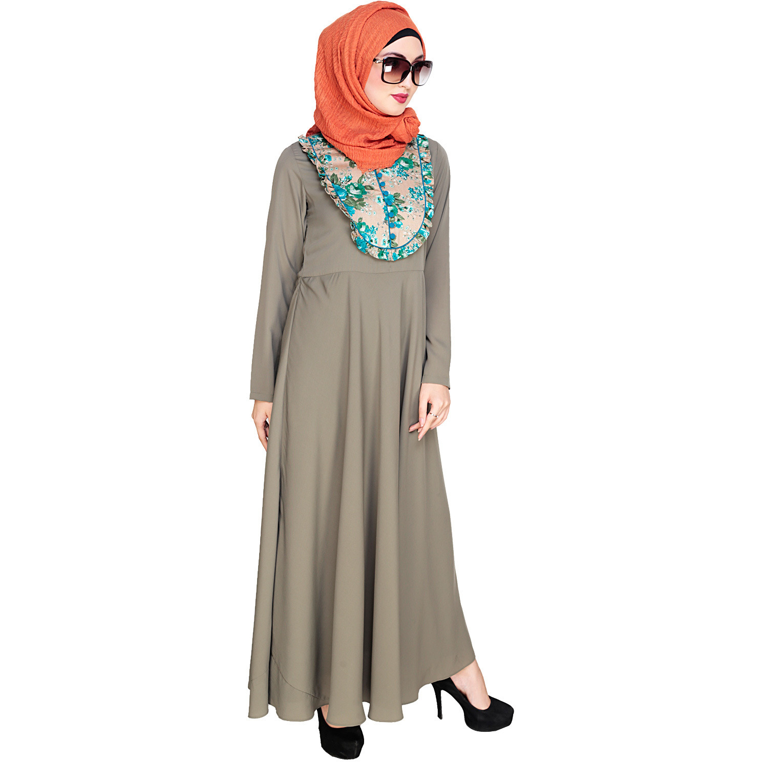 Modest Forever  Fanciful Ruche Dead Mint Maxi Dress Abaya (Size:L)