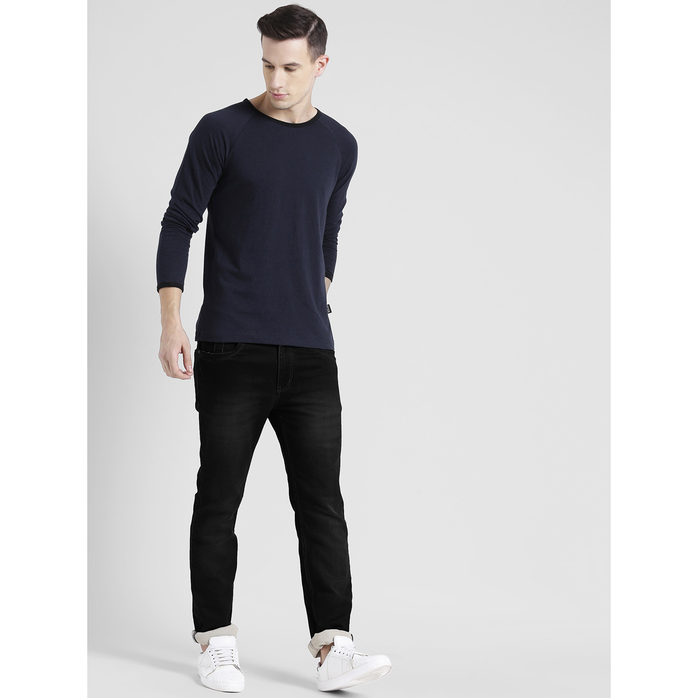 Rigo Navy Black Stripe Raglan Full Sleeve T-Shirt For Men (Size: L)