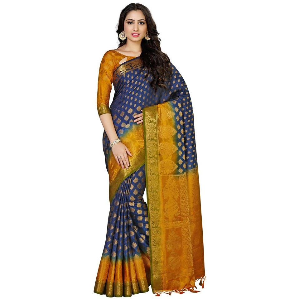 Flower Design All Over Art Silk Saree with Contrast Unstiched Blouse-Navy Blue