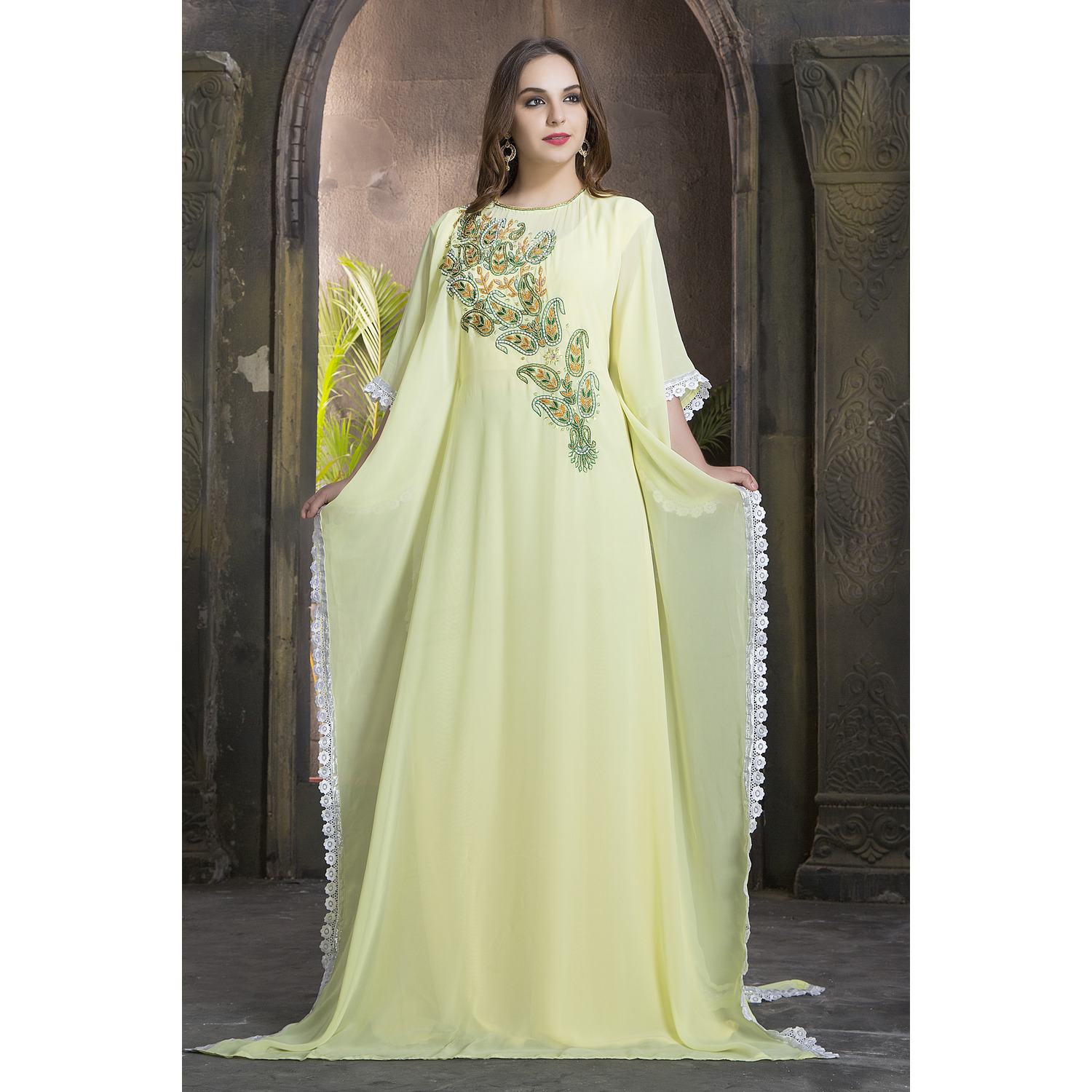Women's Fashion Trendy Hand beaded dress Dress crafted  Kaftan Ethnic wear Chic Lemon Yellow