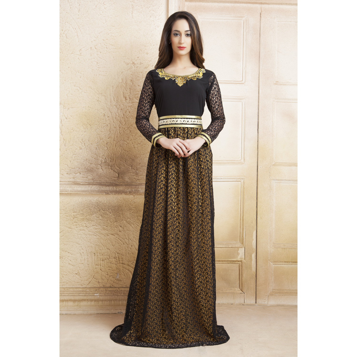 55244e539 Buy Online Yellow and Black color Net Brasso Thread Work Arab Dubai Style  kaftan from USA - Zifiti.com - Page
