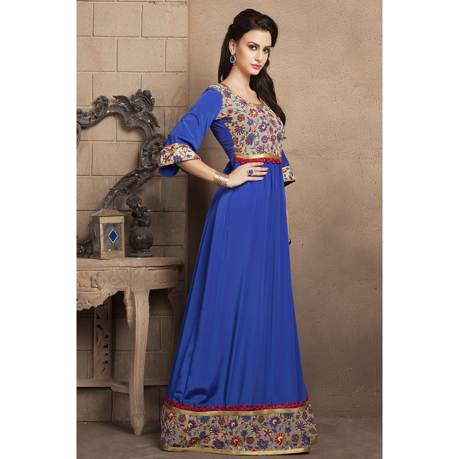 Royal Blue Color Casual Maxi Dress With French Crepe and Lace Work (Size:XS)