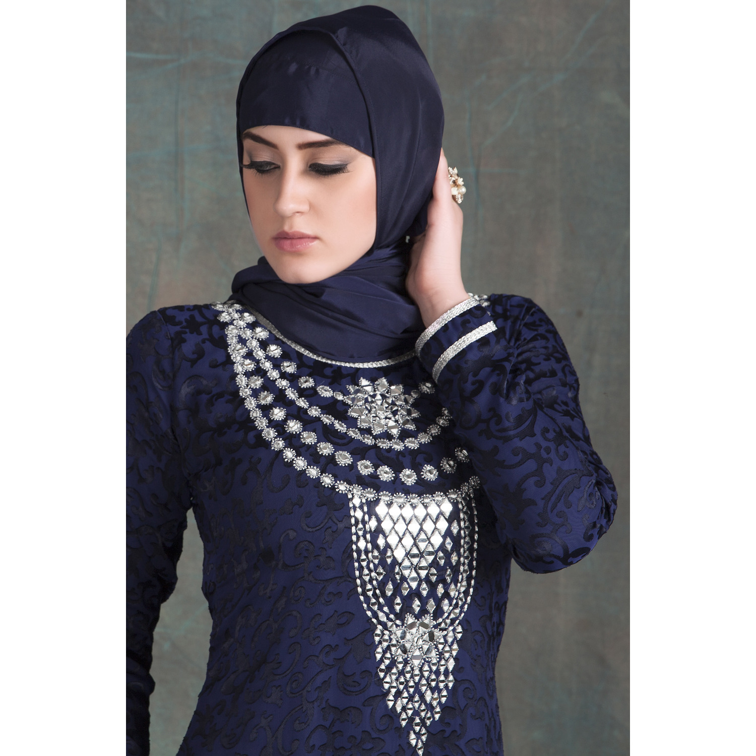 Dark Blue Thread with Mirror Glass Hand Work Designer Dubai Kaftan (Size:XS)