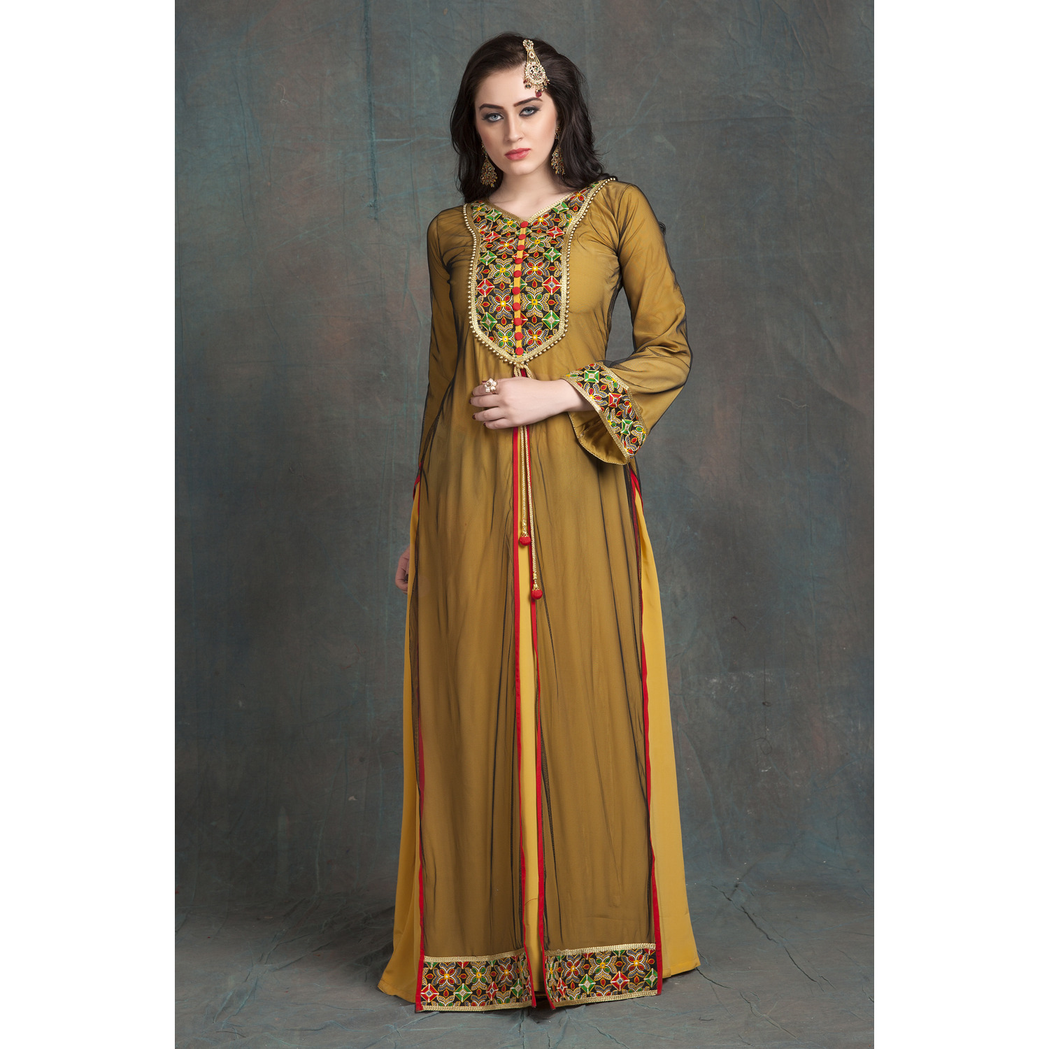Gold Yellow Modern Style Embroidery Full Sleeve Formal Maxi Dress (Size:3XL)