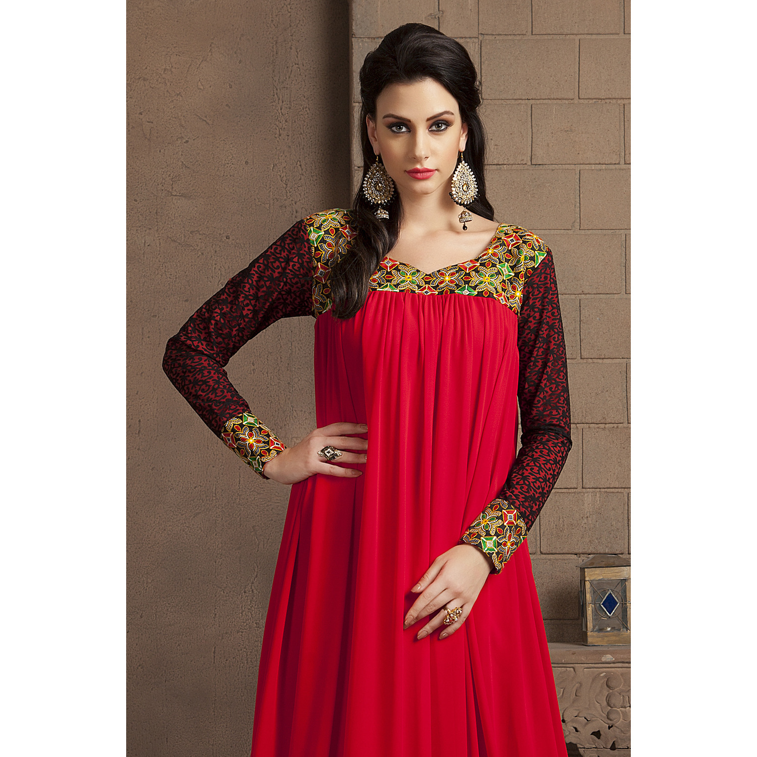 Red Color Long Sleeve Modern Embroidery Maxi Dress (Size:S)