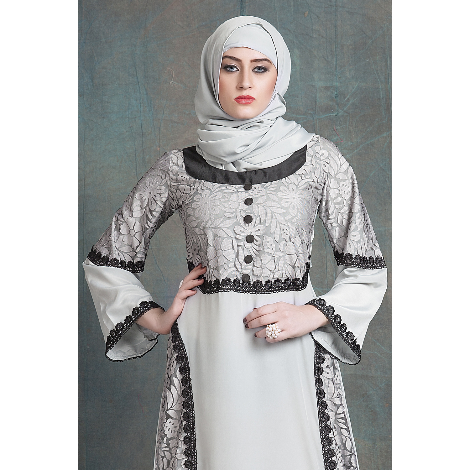 Gray Color Kaftan Ethnic wear Arabic Evening Dress With Net Brasso and Black Lace Work