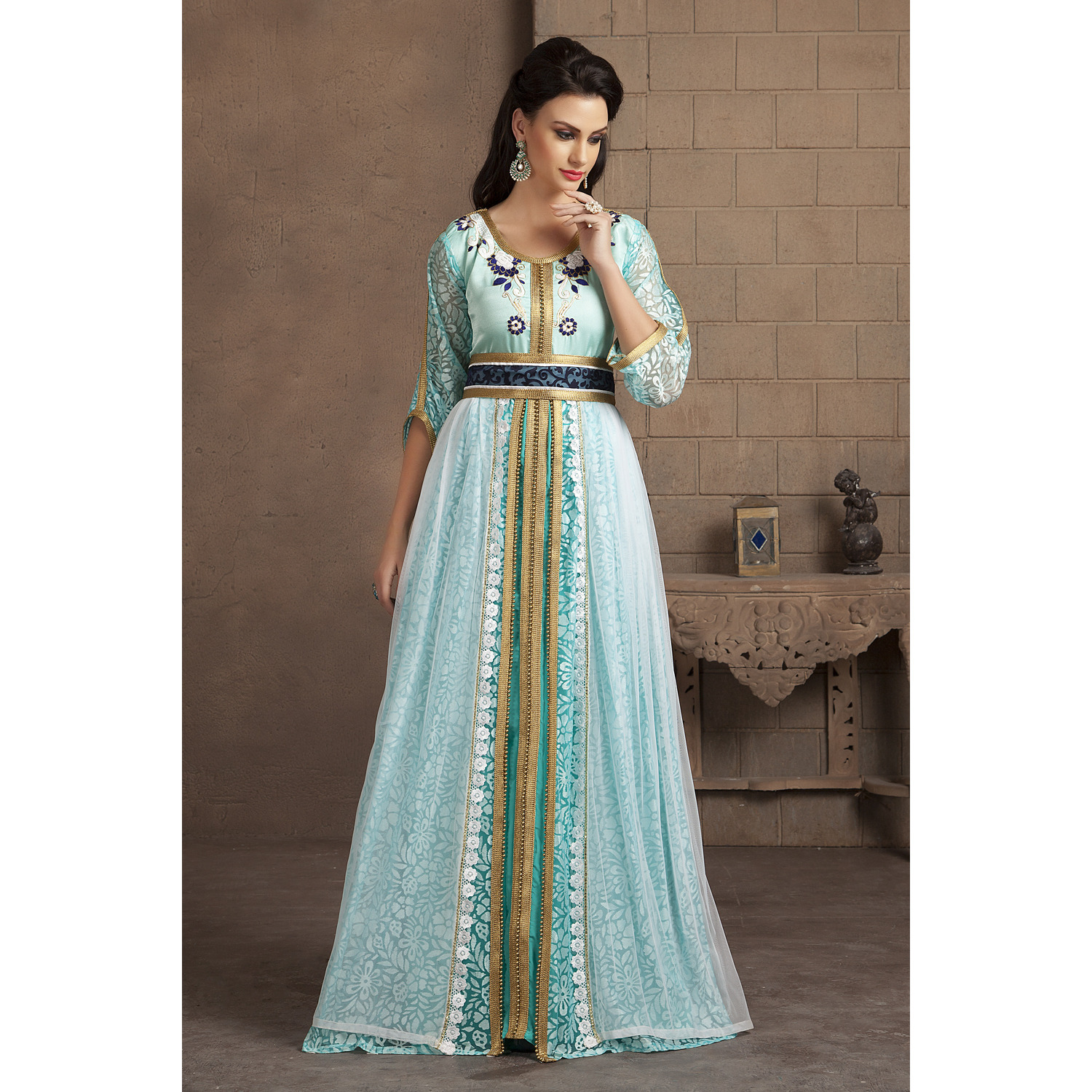 Aqua Blue Color Kaftan Arabic Evening Dress With Net Brasso and Thread Work (Size:XS)