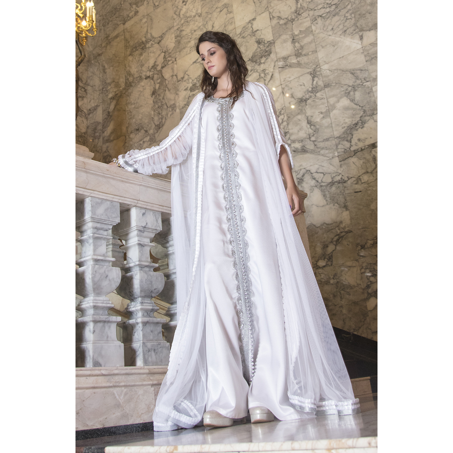Moroccan Long Sleeve Wedding Caftan White Color With Lace Work