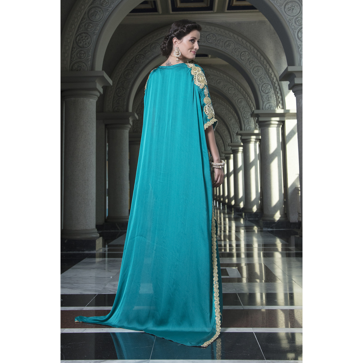 Evening Dress Sea Green Color Arabic Free Size Kaftan Ethnic wear