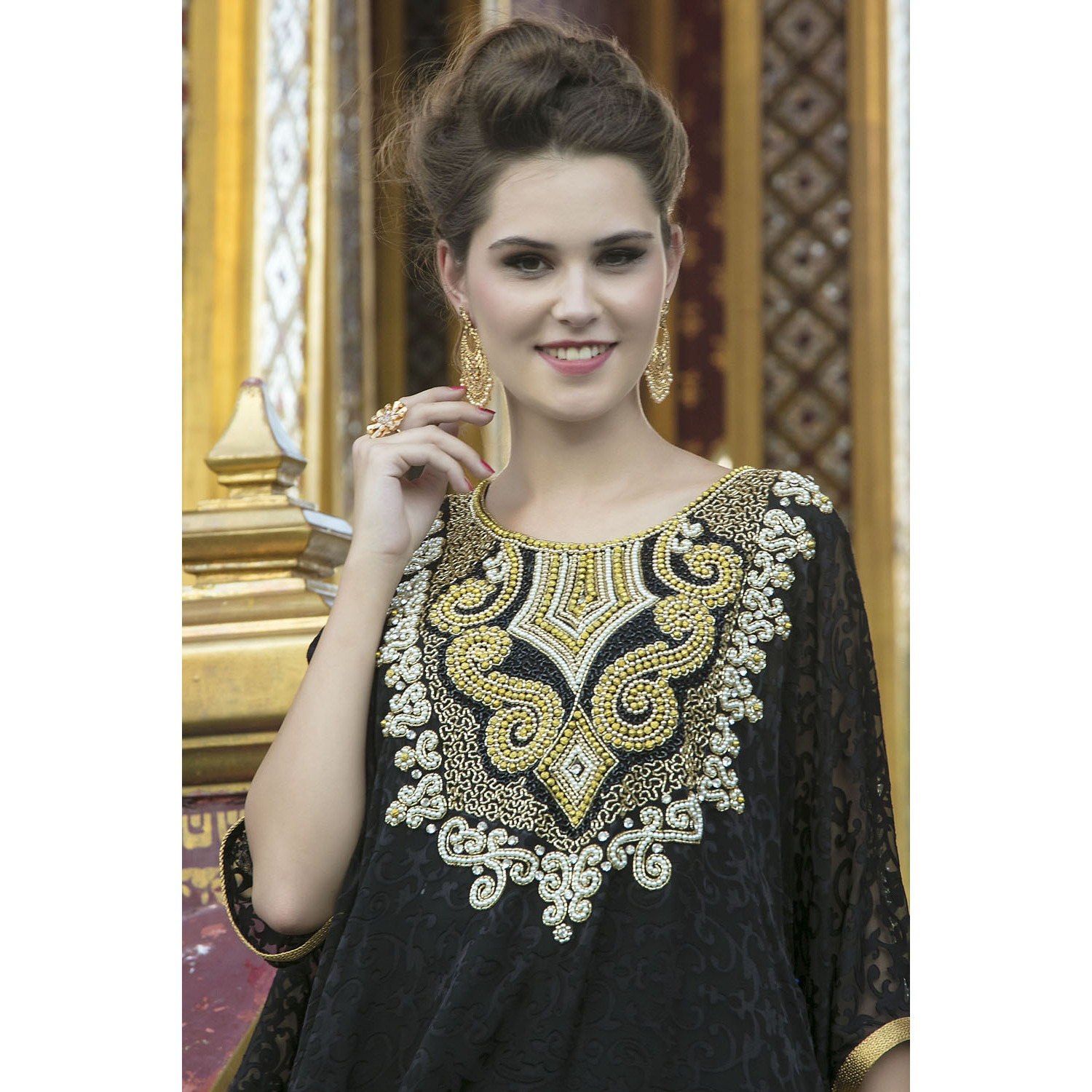 Arabic Style Free Size Black Color Hand Made Kaftan Ethnic wear
