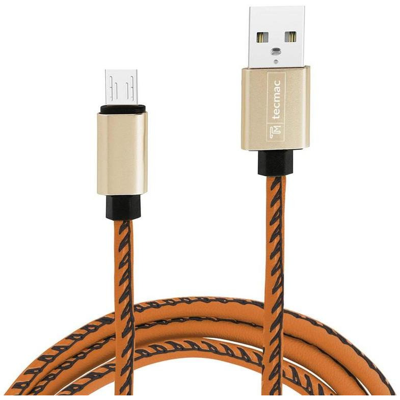 Faux Leather Braided Micro USB Data Sync Fast Charging Cable for Android (Brown) (Color:BROWN)