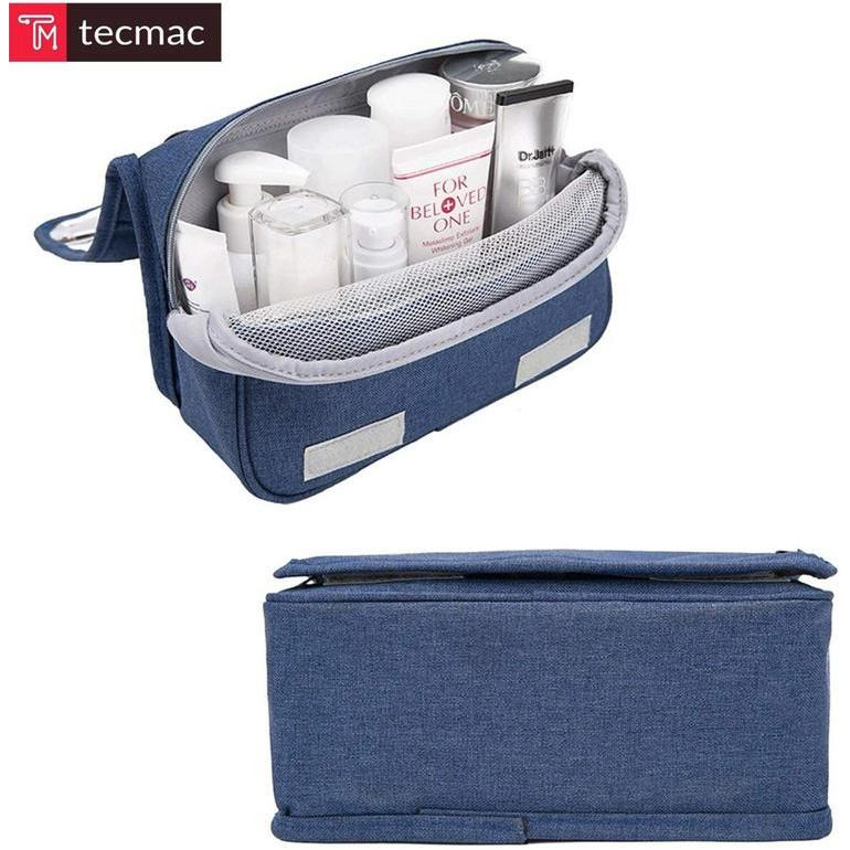 Portable Travel Cosmetic-Makeup Bag | Toiletry Wash Bag (Unisex) (Navy Blue) (Color:BLUE)
