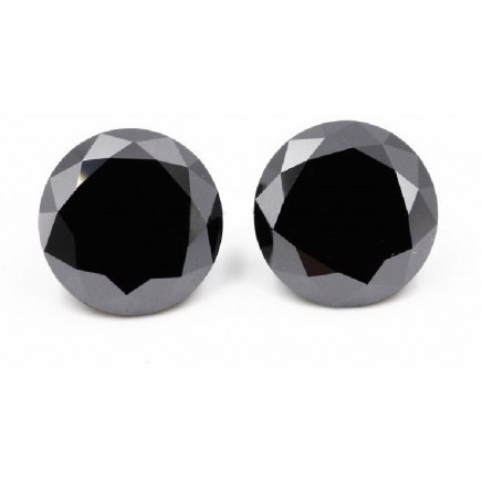 2.10 To 2.20  Ct  Mix Opaque Round Cut Loose Real Moissanite Black Color Stone