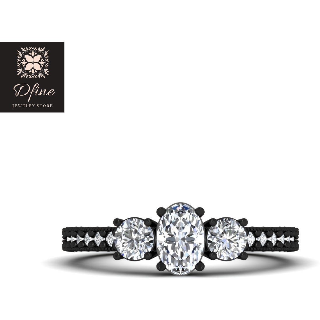 3 Stone Diamond Wedding Ring Classic Engagement Ring Womens (Size:US 4)