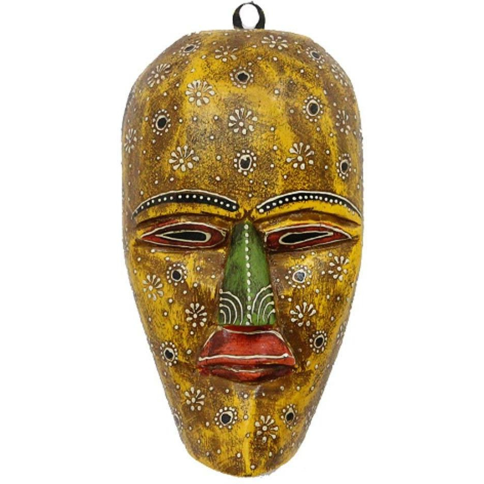 Hand Crafted Wall Hanging Wooden Tribal Mask 9 In Decorative Mask Wall D??cor