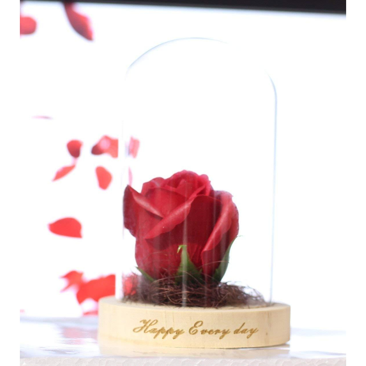 Luxury Red Rose Glass Dome With Light | Showpiece Statue For Home Decor - Bedroom Living Room | Birthday Anniversary Gifts For Girls Wife Girlfriend (Red) Best Home Decor Showpiece Figurine