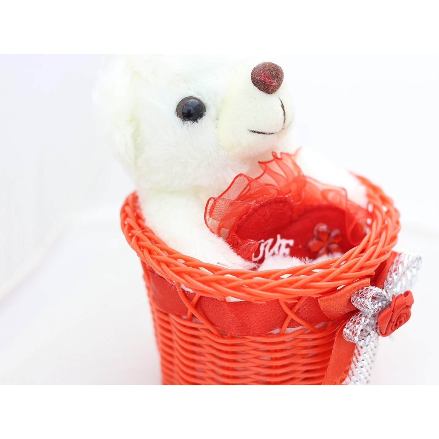 New Luxury Basket Teddy Holding Love Heart With Light & Music | Gifts For Birthday Anniversary | Him, Her, Girlfriend And Boyfriend Best Home Decor Showpiece Figurine