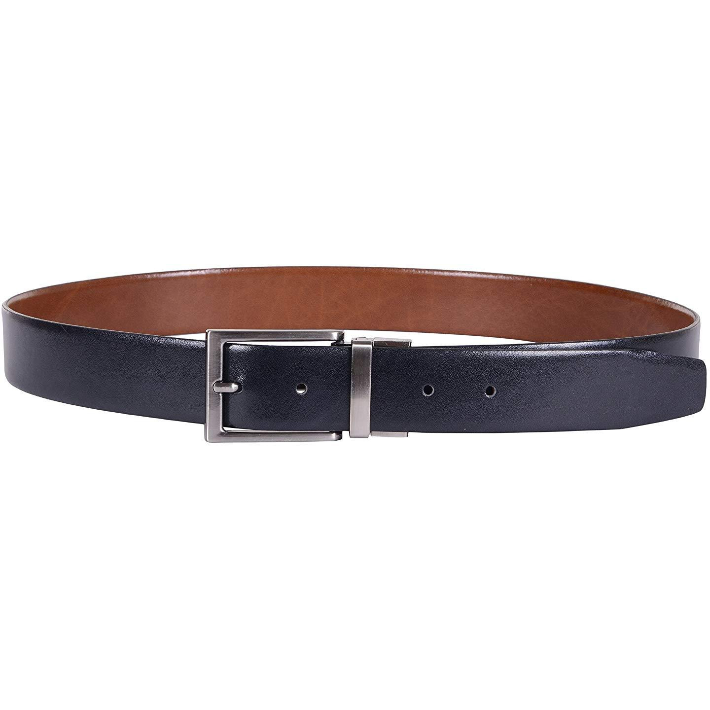 HiLEDER Men's Pure Genuine Spanish Leather Reversible Designer Belt (Black/Tan) (Size: 38)