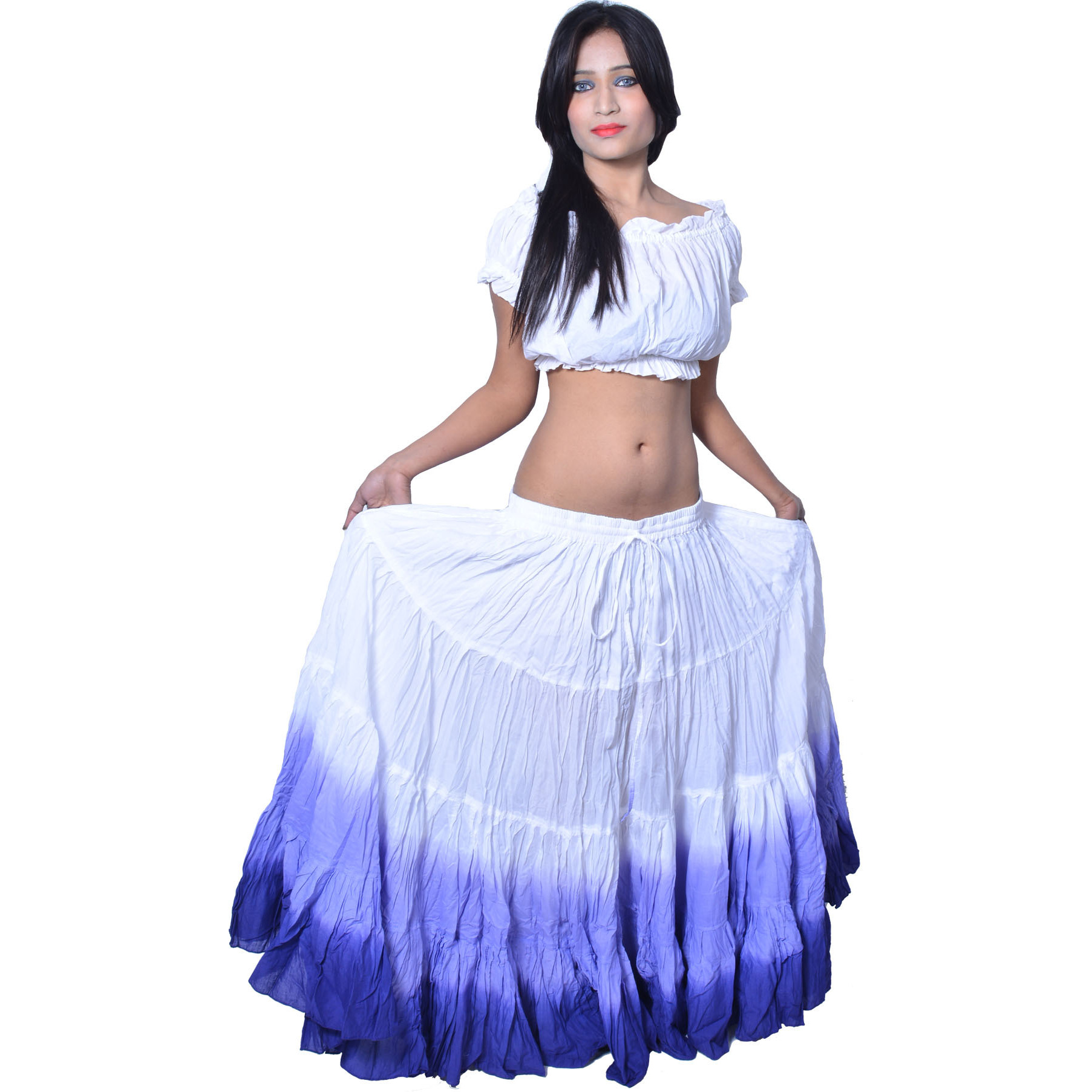 Wevez Women's ATS Tribal Dip Dye 25 Yard Skirt, One Size, White/Purple