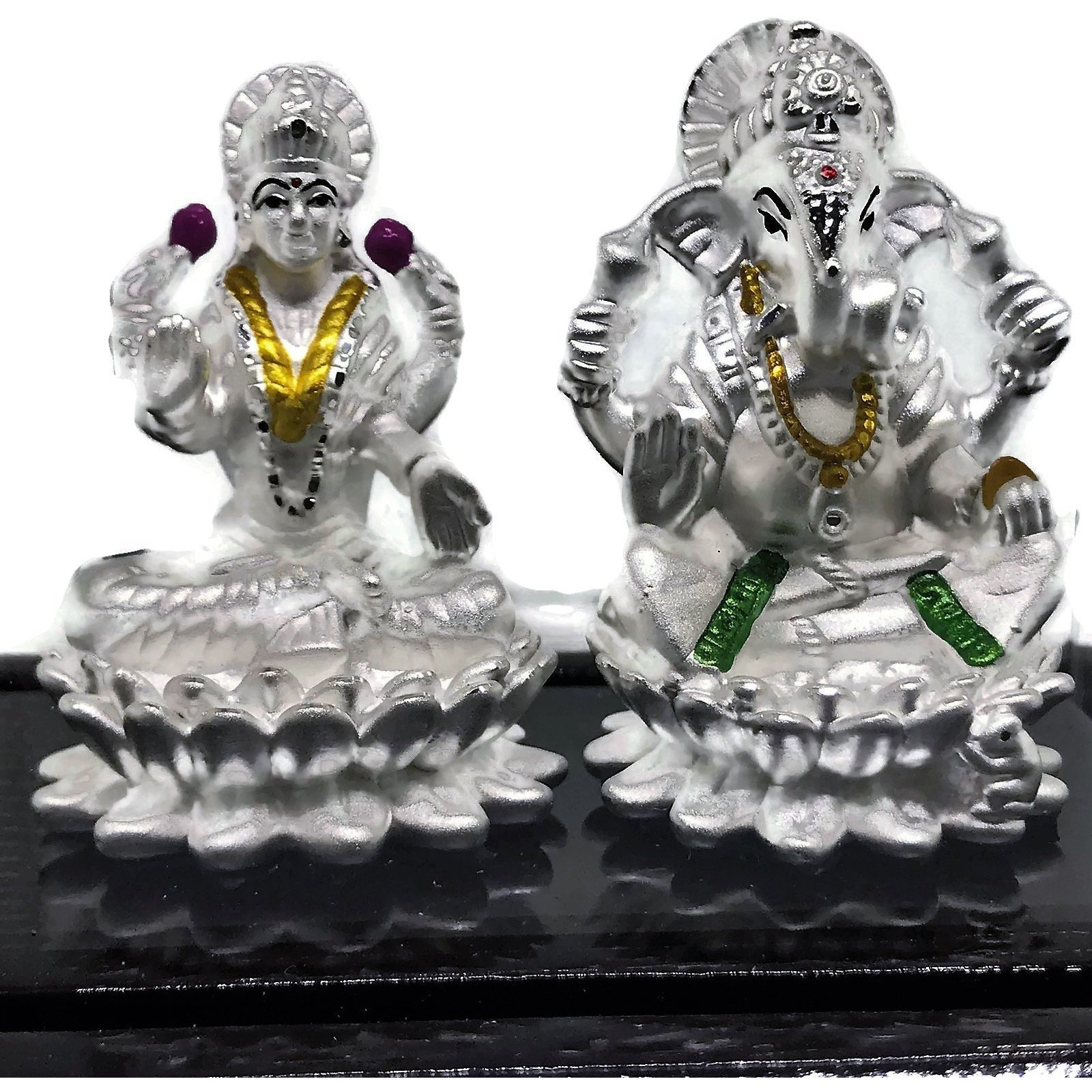 999 Pure Silver Ganesh & Lakshmi / Laxmi Idol / Statue / Murti (Figurine# 08) (Shipping: EXPEDITED SHIPPING (2-3 DAYS)+$12.99)