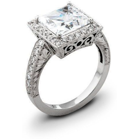 Square Cut Vintage Design Engagement Ring 2 Ct 7 MM Stone in Silver for Women (Size: SIZE_5)