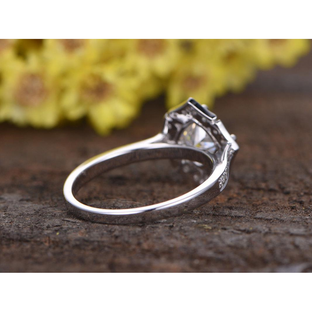 1ct Cushion Cut VVS1 Diamond Floral Flower Engagement Ring 14k White Gold Finish (Size: 5)