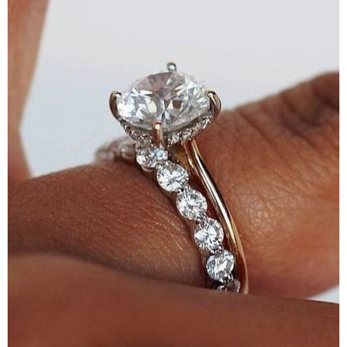 Wedding Ring Set.1 45ct Round Cut Solitaire Diamond Engagement Wedding Ring Set 14kt White Gold Size 5