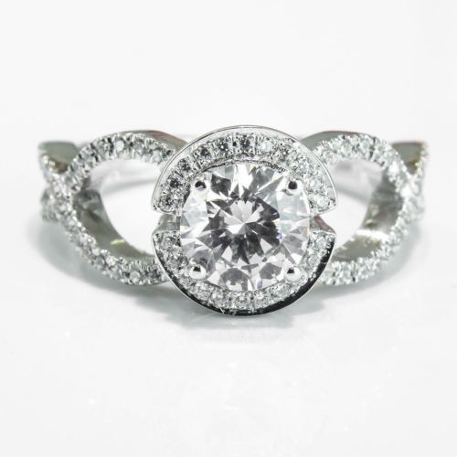 Fabulous 1.50Ct Engagement Wedding Ring in White Round Shape Diamond 925 Silver (Size: 5)