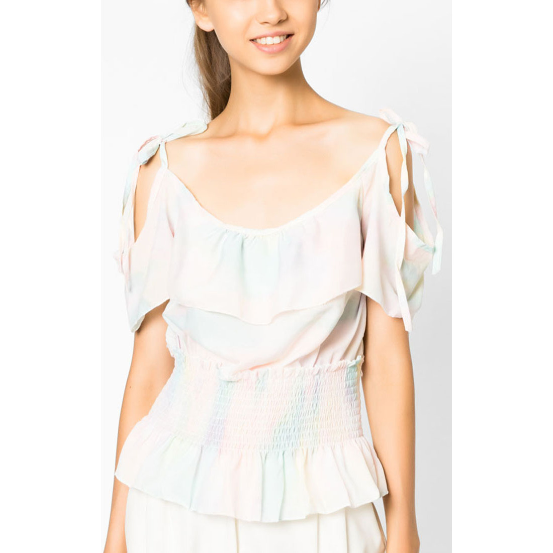 8b523350936524 Buy Online MirrorDress-Pastel Rainbow Cold Shoulder Blouse (Multi) from USA  - Zifiti.com - Page