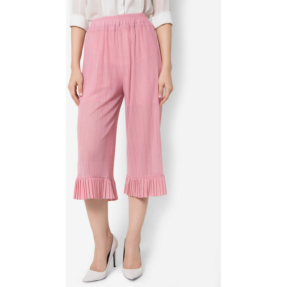 MirrorDress-Half See-Through Mesh With Pleated Hem Capri Pants (Pink)