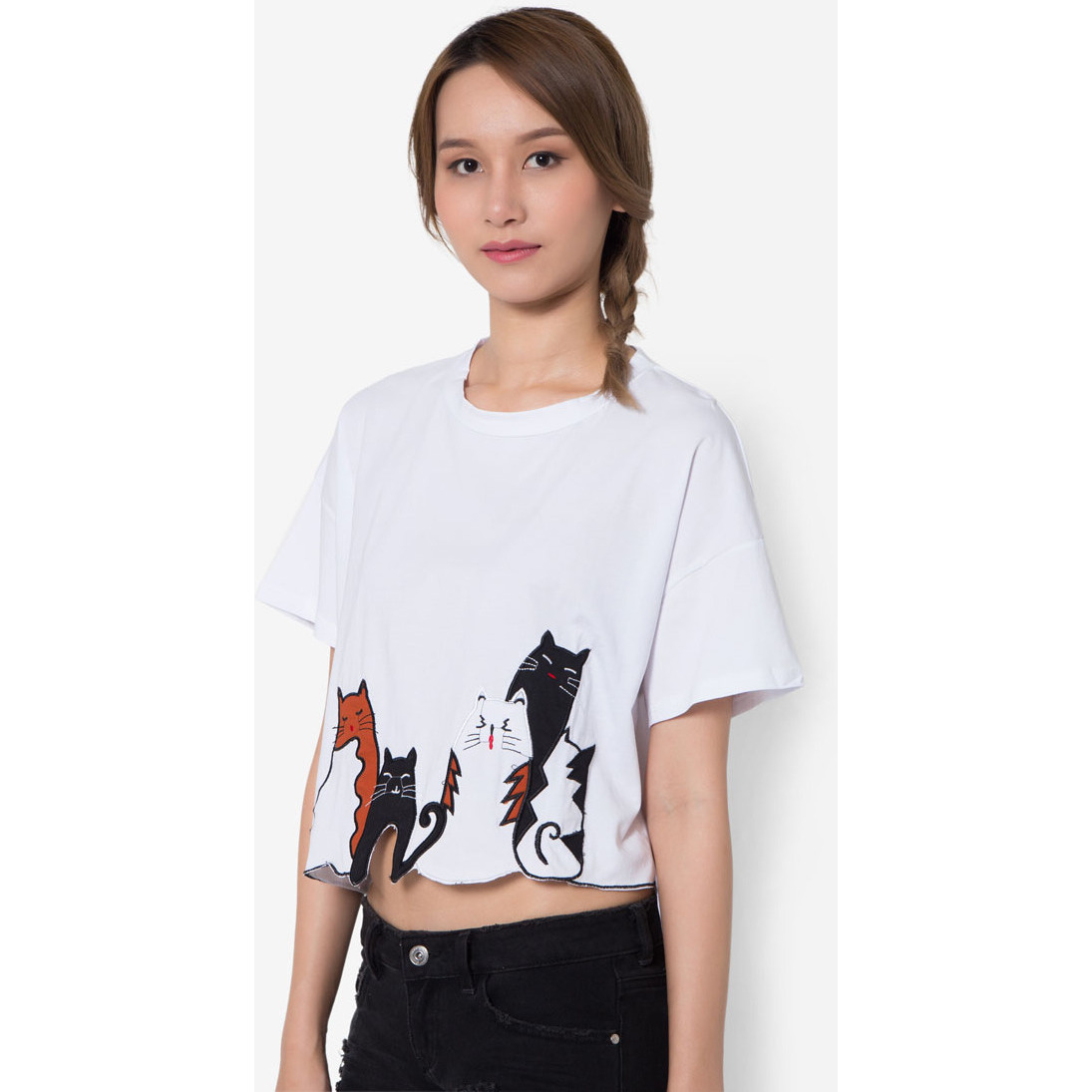 MirrorDress-Meow Meow Cut-Out Hem Tee (White)