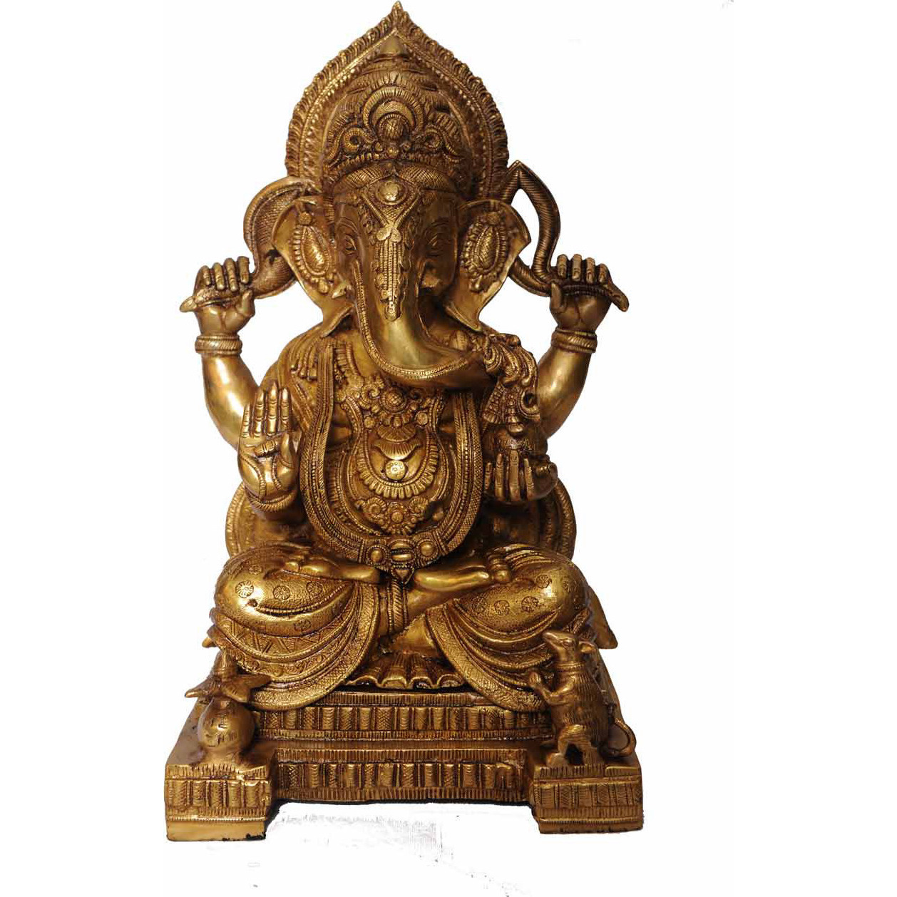 Antique brass hindu elephant god ganesha idol indian hand crafted statue 18