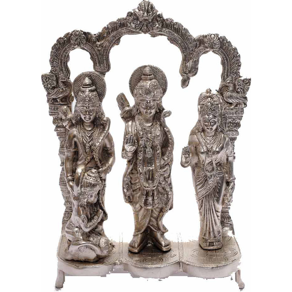Brass hindu deity lord Rama darbar silver plated statue religious craft dicor