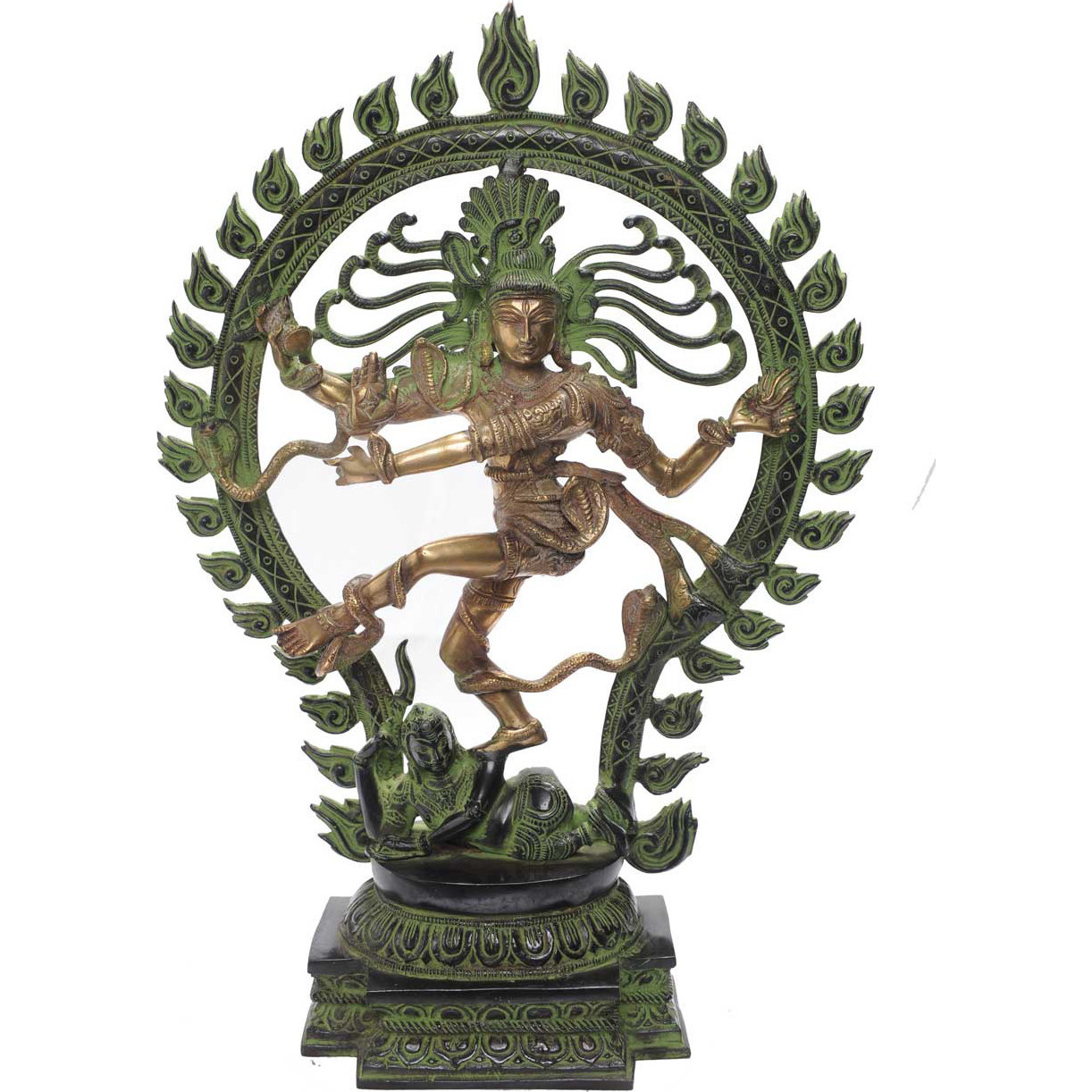 Vintage statue of lord shiva dancing natraja brass idol religious dicor 21
