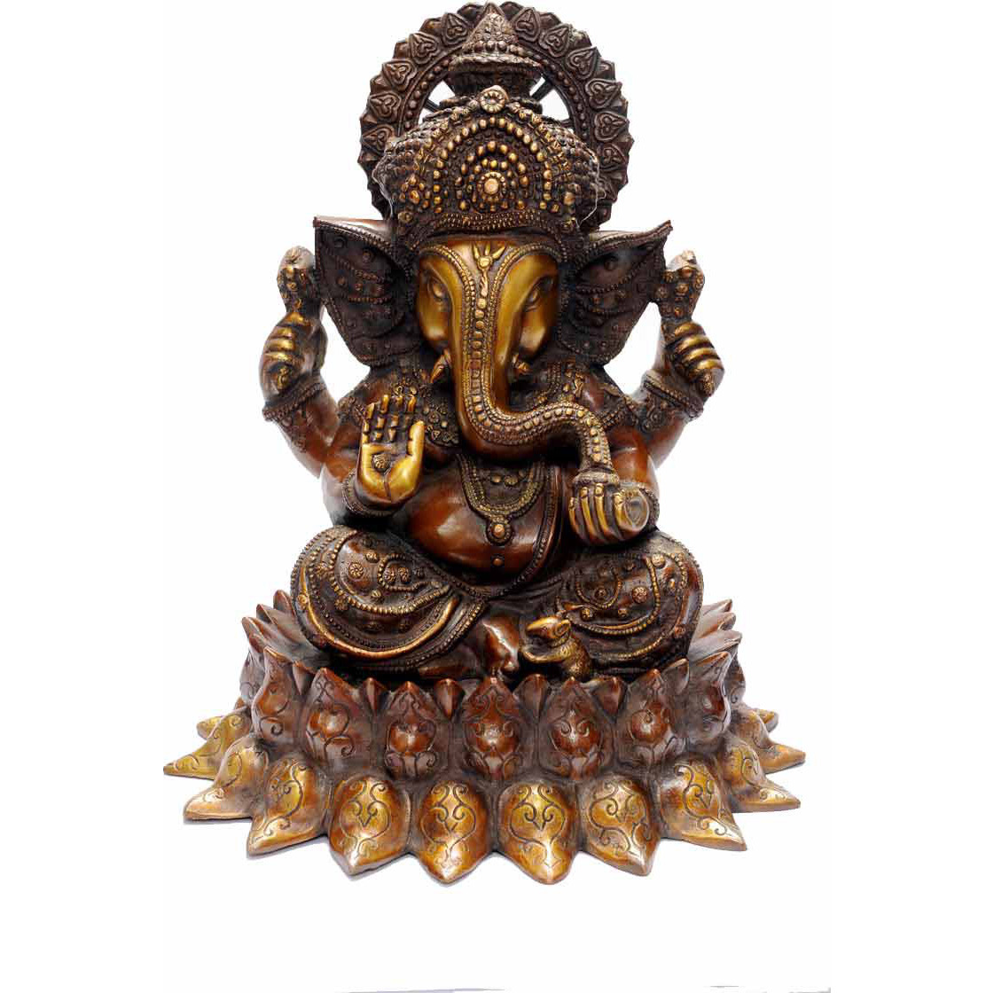 Brass chaturbhuja hinduism elphant lord ganesha spiritual antique dicor 15