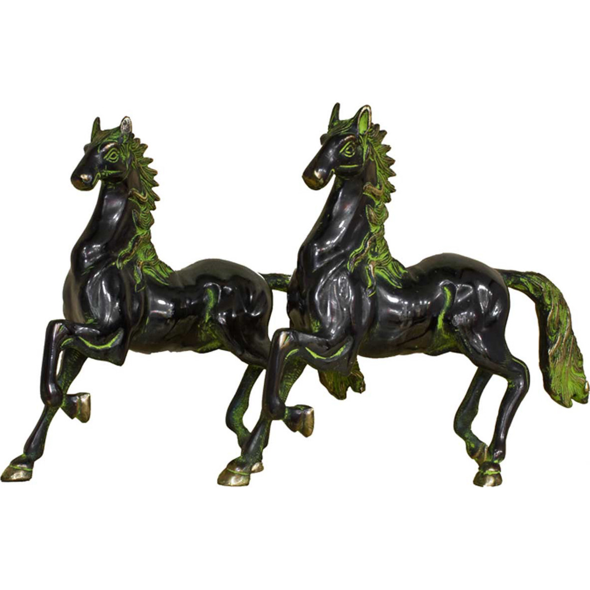 Brass Horse pair showpiece statue hand carved figurine home dicor 10