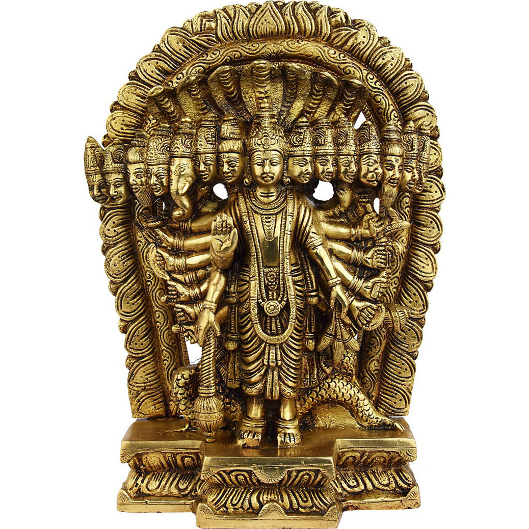 Brass hindu god Lord Vishnu murti multiple faces statue religious figure 11
