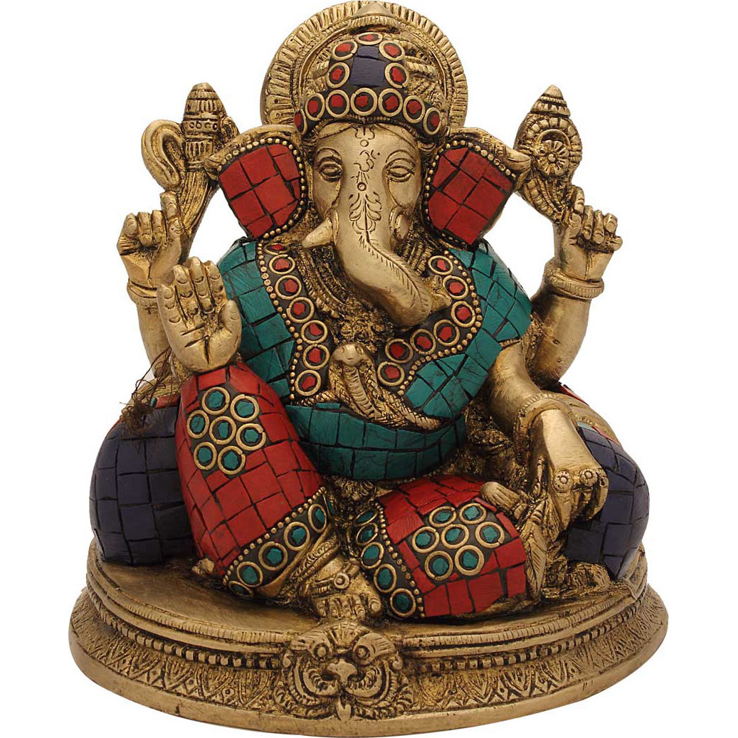 Brass ganesh elephant lord india gods hinduism turquoise coral religious art 6