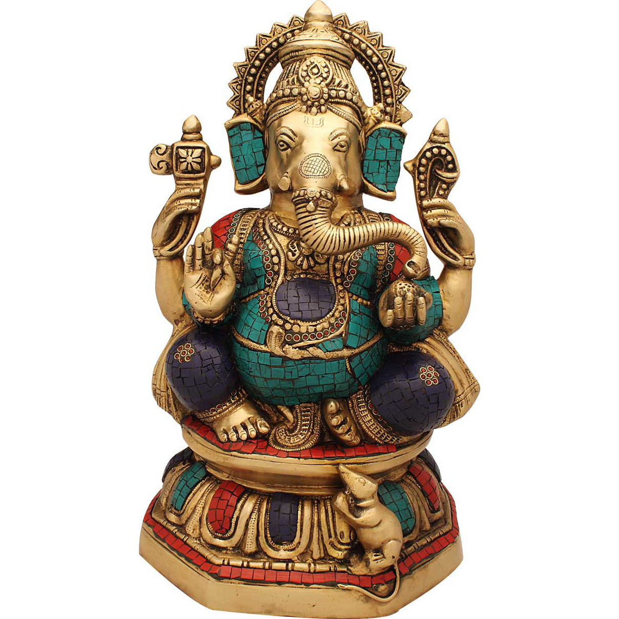 Elephant lord hindu gods ganesh statue nepal turquoise coral religious dicor 16