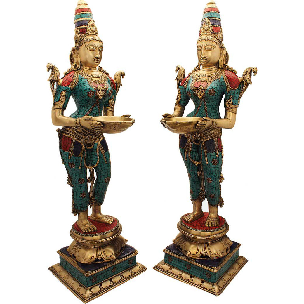 India brass deeplaxmi pair statue dicor showpiece turquoise coral figure 32