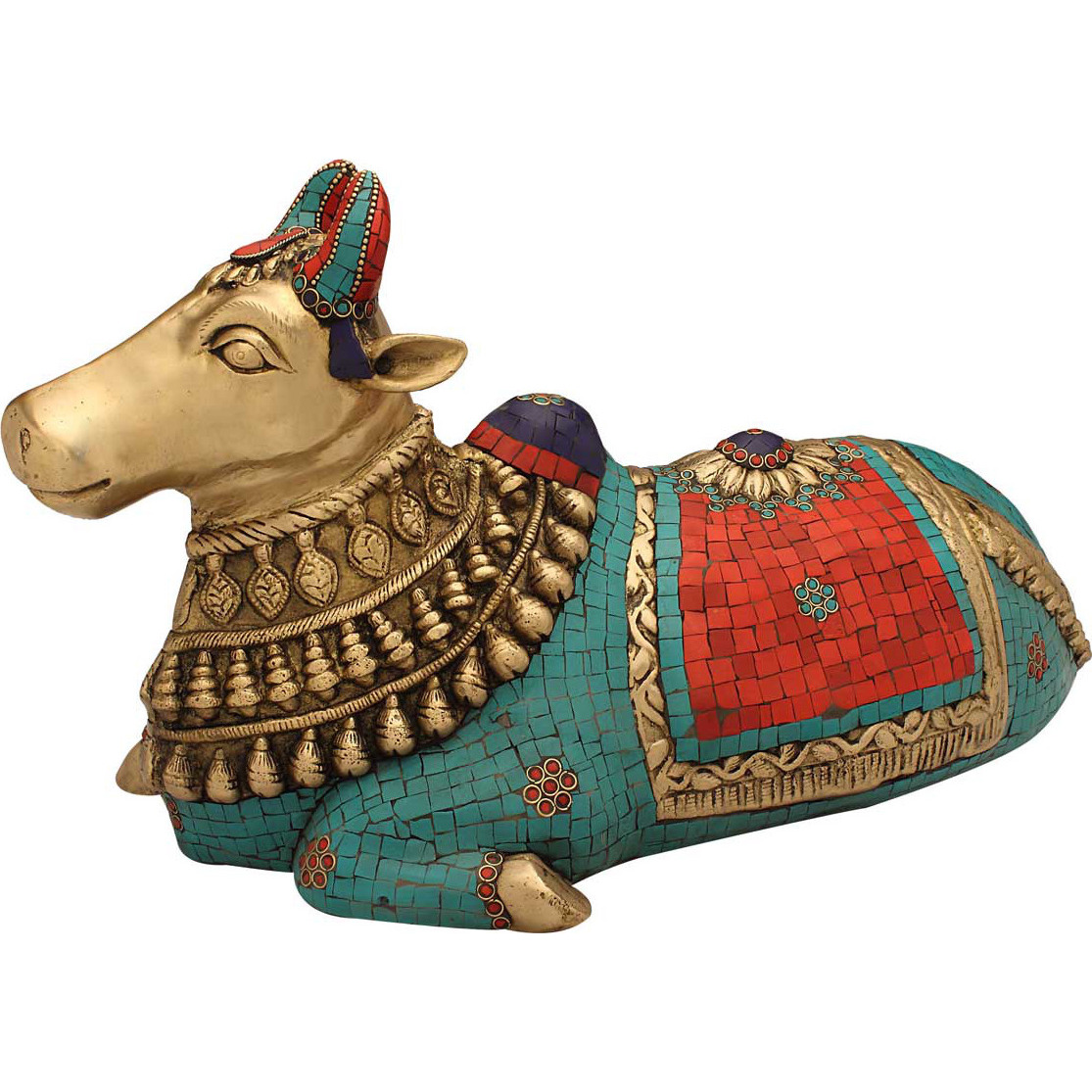 Brass hindu holy cow sacred nandi figure antique religious pooja statue 4
