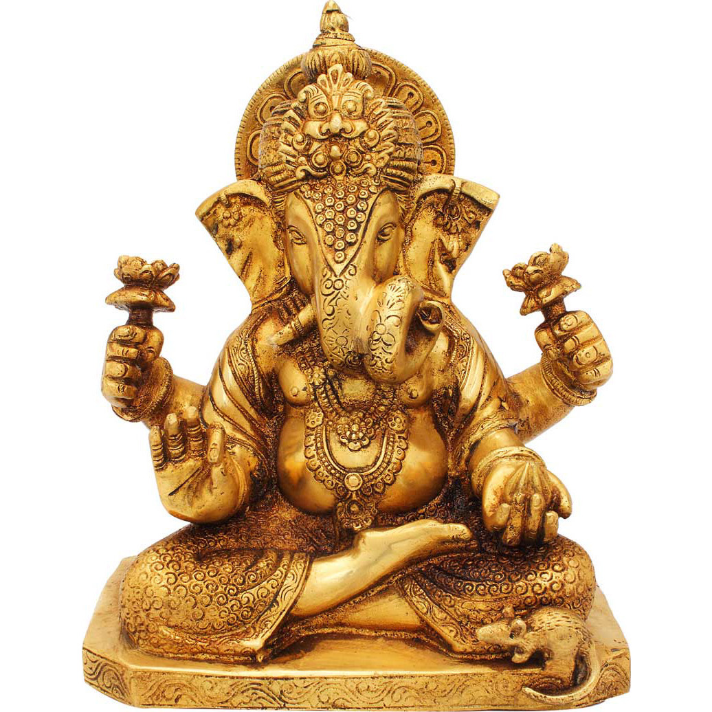 Brass lord elephant ganesha twisted trunk success and fame religious dicor 9