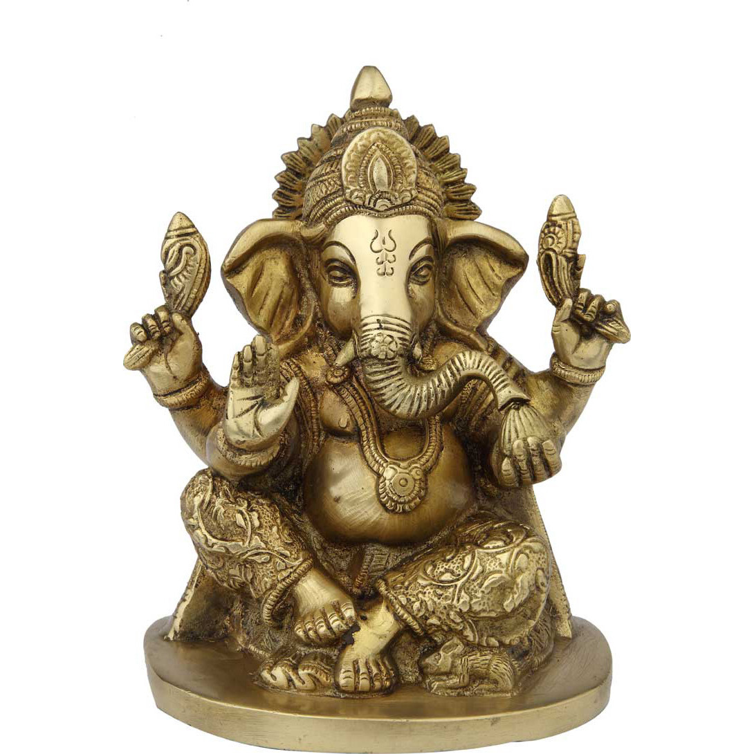 Brass ganesha sitting statue indian hand made idol room dicor 8