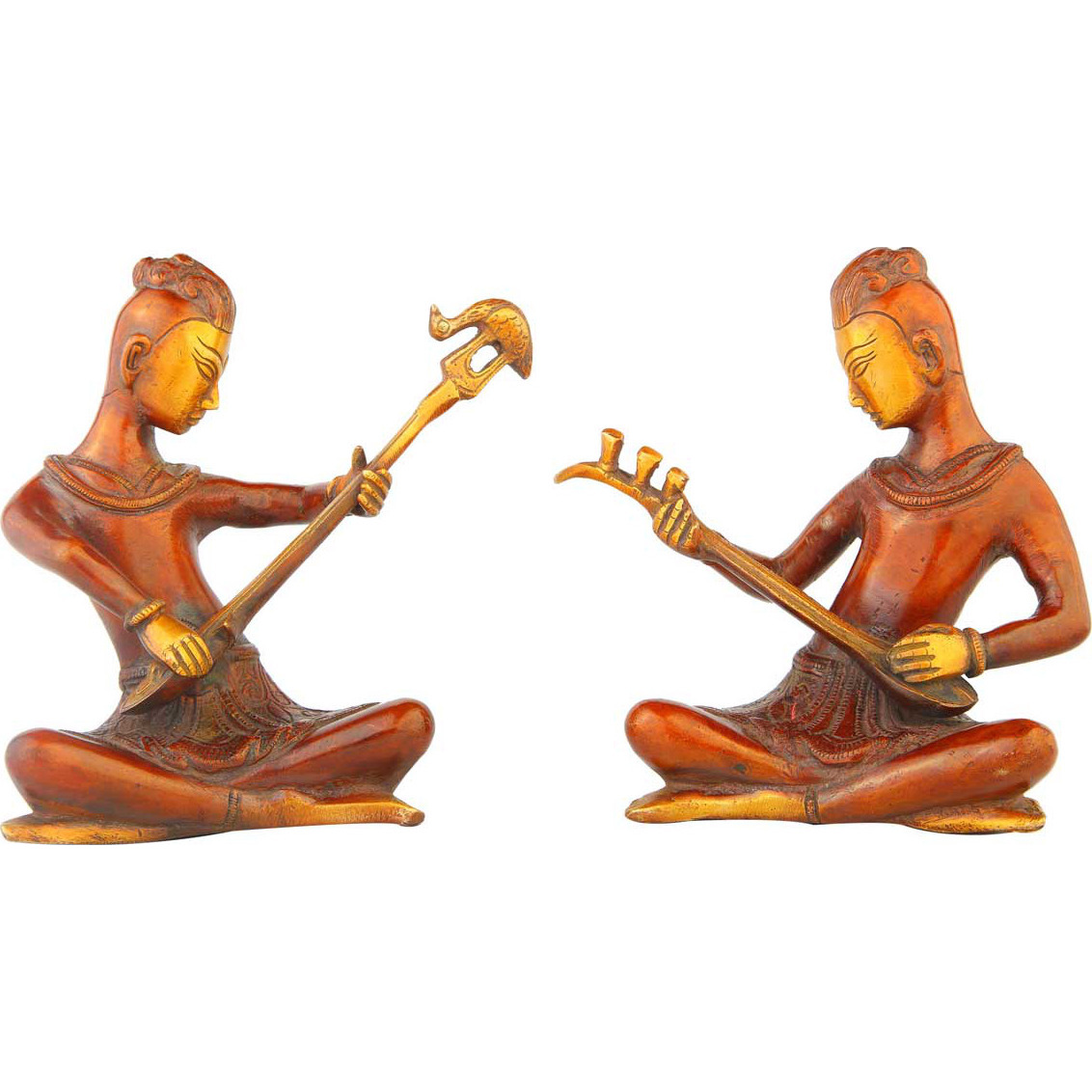 Indian brass musical band 2 pcs showpiece home table dicor statue gift set 6